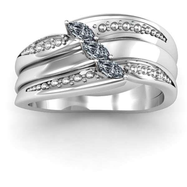 18CT White Gold Shimmering Triple-Marquise Ring