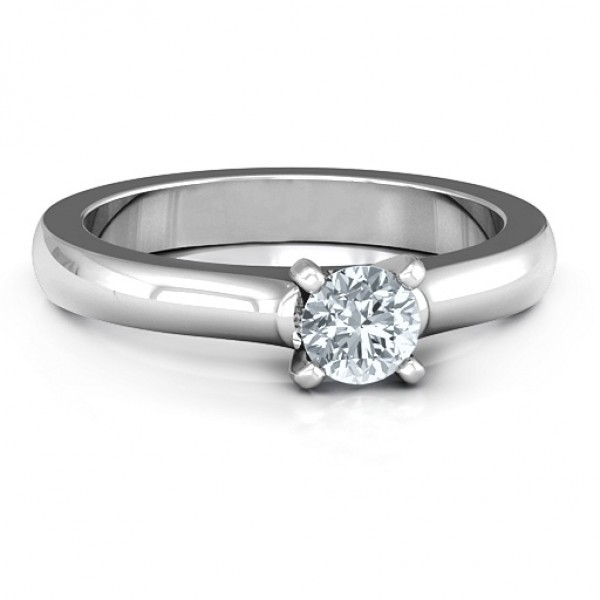 18CT White Gold Simply Solitaire Ring