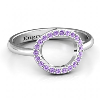 18CT White Gold Single Accented Circle Karma Ring