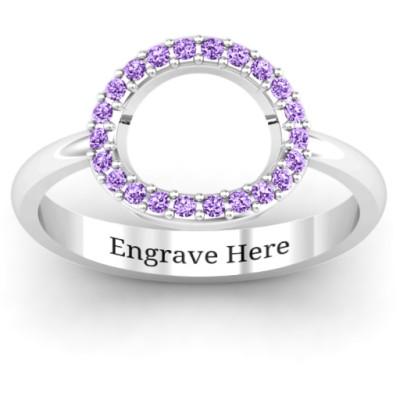 18CT White Gold Single Accented Circle Karma Ring