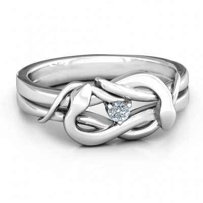 18CT White Gold Snake Lover's Knot Ring