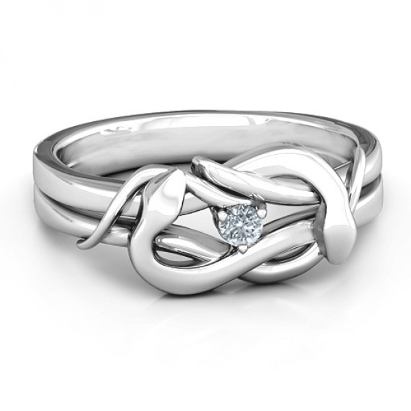 18CT White Gold Snake Lover's Knot Ring