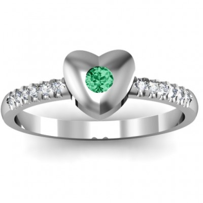 18CT White Gold Solid Heart with Micro Pave Accents Ring
