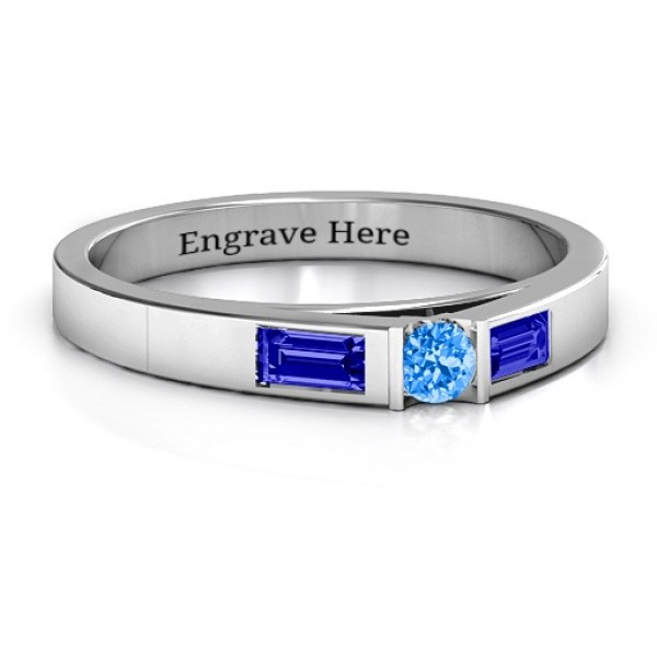 18CT White Gold Solitaire Bridge Ring with Baguette Accents