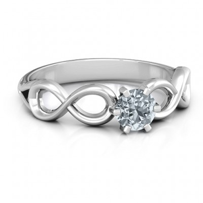 18CT White Gold Solitaire Infinity Ring