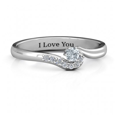 18CT White Gold Solitaire Wave Ring with Stone Accents