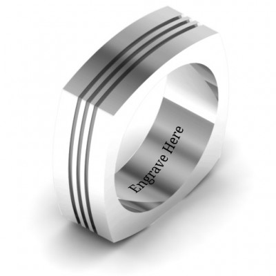 18CT White Gold Stria Grooved Square-shaped Men's Ring