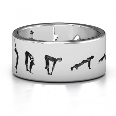 18CT White Gold Sun Salutation Pose Ring