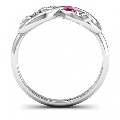 18CT White Gold Sweet 16 with Birthstone Infinity Ring