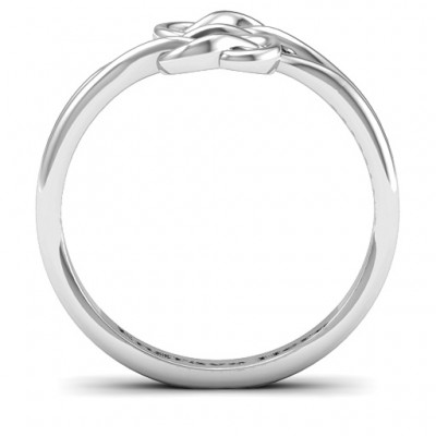 18CT White Gold Tangled Hearts Infinity Ring
