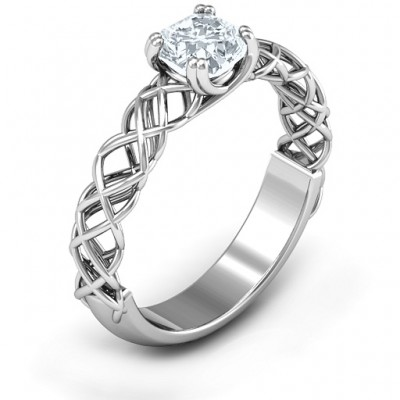 18CT White Gold Tangled in Love Ring