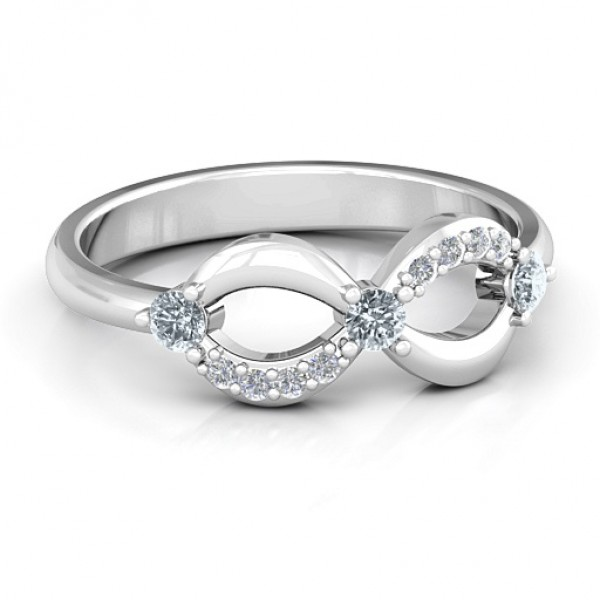 18CT White Gold Three Stone Infinity Ring with Accents