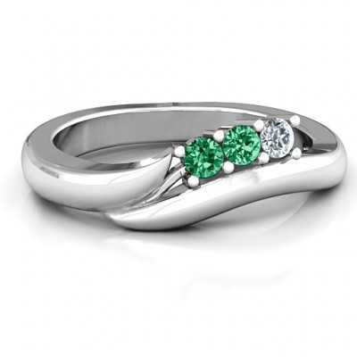 18CT White Gold Three Stone Single Bypass Ring