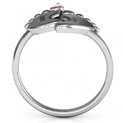 18CT White Gold Toe-tally In Love Engravable Birthstone Footprint Ring
