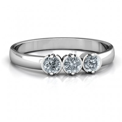 18CT White Gold Trinity Ring with Cubic Zirconias Stones