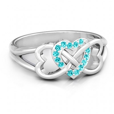 18CT White Gold Triple Heart Infinity Ring with Mint Swarovski Zirconia Stones