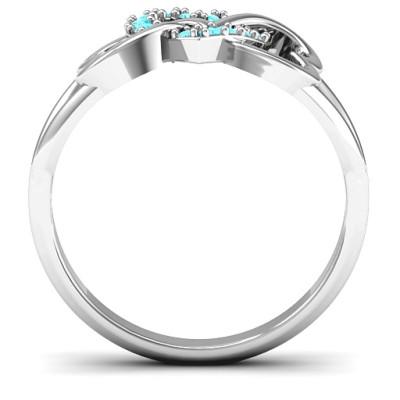 18CT White Gold Triple Heart Infinity Ring with Mint Swarovski Zirconia Stones