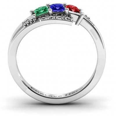 18CT White Gold Triple Princess Stone Ring with Accents