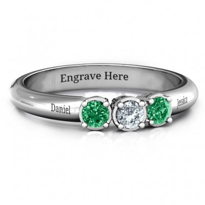 18CT White Gold Triple Round Stone Ring