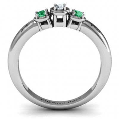18CT White Gold Triple Round Stone Ring