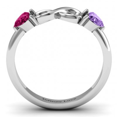 18CT White Gold Two Hearts to Infinity Ring