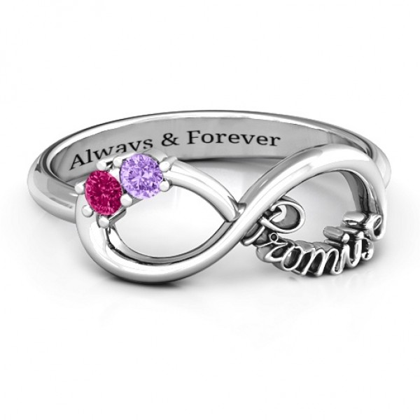 18CT White Gold Two Stone Promise Infinity Ring