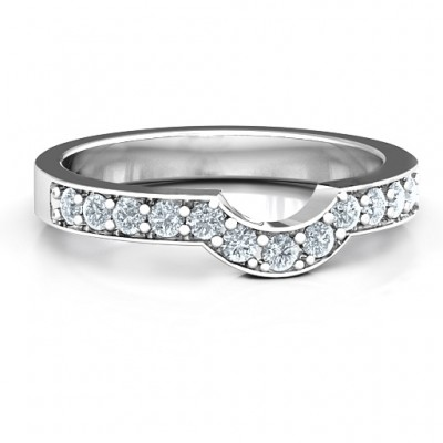 18CT White Gold U-Shape Shadow Ring