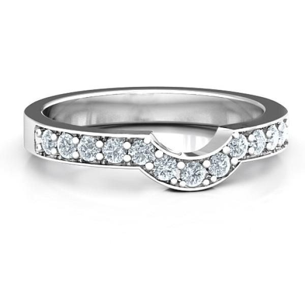 18CT White Gold U-Shape Shadow Ring