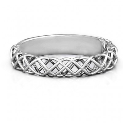 18CT White Gold Woven in Love Ring