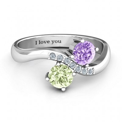 Storybook Romance Two Stone Solid White Gold Ring