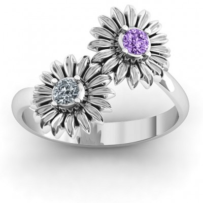 Sun Flowers Solid White Gold Ring