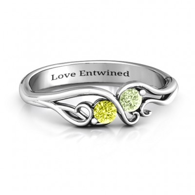 Swirl of Style Birthstone Solid White Gold Ring