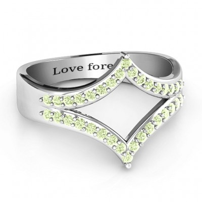 Symmetrical Sparkle Solid White Gold Ring