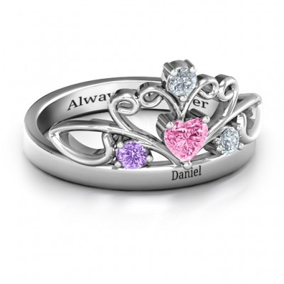 Tale Of True Love Tiara Solid White Gold Ring