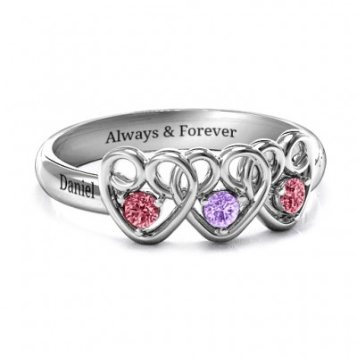 Three's Company Triple Heart Gemstone Solid White Gold Ring