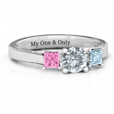 Three Stone Eternity with Princess Accents Solid White Gold Ring