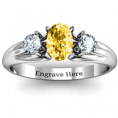 Three Stone Oval Centre Solid White Gold Ring
