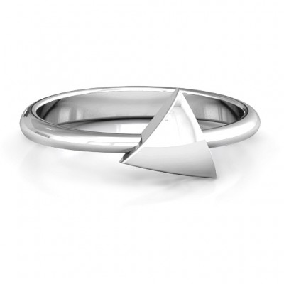Triangle Pebble Geometric Solid White Gold Ring