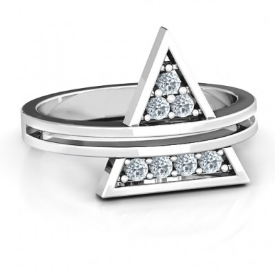 Triangle of Glam Geometric Solid White Gold Ring