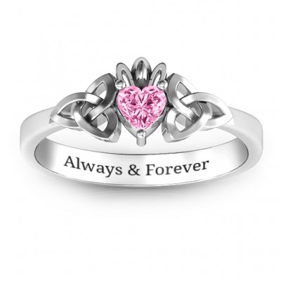 Trinity Knot Heart Crown Solid White Gold Ring