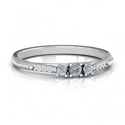 Trinity Solid White Gold Ring on Accented Band