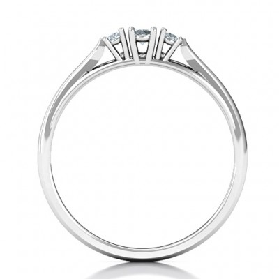 Trinity Solid White Gold Ring on Classic Band