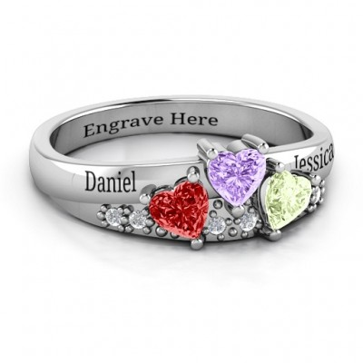 Tripartite Heart Gemstone Solid White Gold Ring with Accents