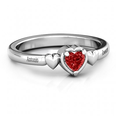 Triple Heart Solid White Gold Ring
