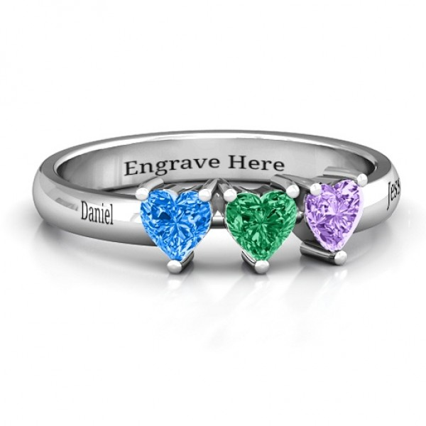 Triple Heart Stone Solid White Gold Ring