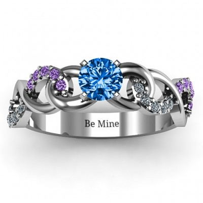 Triple Infinity with Accents Solid White Gold Ring