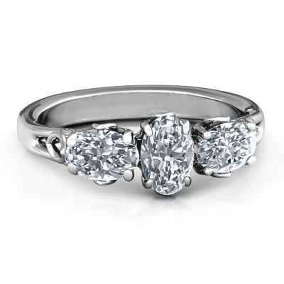 Triple Oval Stone Engagement Solid White Gold Ring