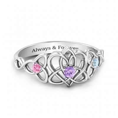Triple Trinity Celtic Heart Solid White Gold Ring
