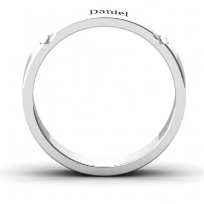 Tungsten Lysander Curved Groove Men's Solid White Gold Ring