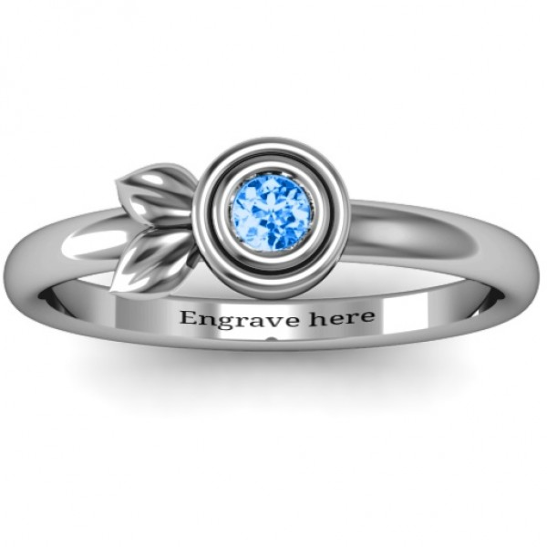 Twin Leaf Solid White Gold Ring